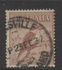 Australia - Scott 139 -  Kookaburra -1932- Used - Single 6d stamp