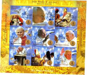 Sao Tome & Principe 2005 Pope John Paul II Sheet Imperforated mnh.vf