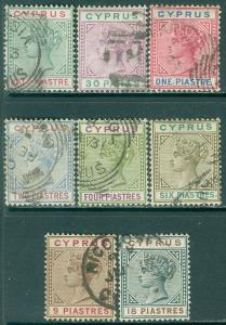CYPRUS : 1894-96. Stanley Gibbons #40-46, 48 Very Fine, Used. Catalog £140.00.