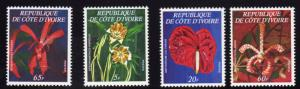 Ivory Coast 1977 Sc#447A/447D FLOWERS Set (4) MNH VERY RARE !!!!
