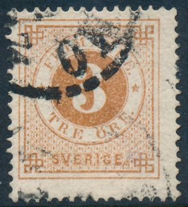 Sweden Scott 17/Facit 17, 3ö orange-brown Ringtyp P.14 F-VF Used