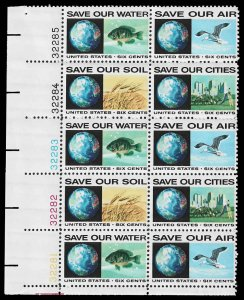 PCBstamps     US #1410/1413 PB 60c(10x6c)Anti-Pollution, 1970, MNH, (3a)