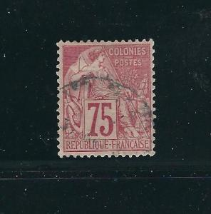 French Colonies 58 Y&T 58 75 c Red Used VF 1881 SCV $60.00