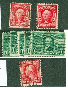 Scott 319,323,332 1c-2c Issues Used Eight Copies Total Cat $24.60