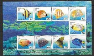SINGAPORE SGMS1136 2001 MARINE FISH MNH