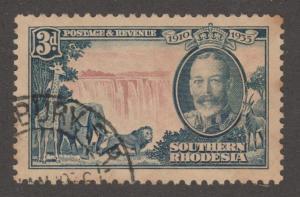 So. Rhodesia, Scott# 35, used, Giraffe, Elephant, lion, wtr. fall, #M466
