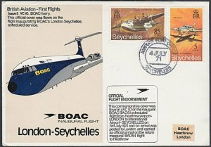SEYCHELLES 1971 BOAC first flight cover to London...........................K715