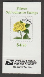 U.S. Scott #3049b-3049d BK241 Yellow Rose Stamp - Mint NH Booklet