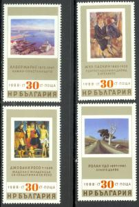 Bulgaria MNH 3357-60 Art Paintings 1988 SCV 2.40