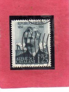 ITALIA REPUBBLICA ITALY REPUBLIC 1954 CATALANI LIRE 25 USATO USED OBLITERE´
