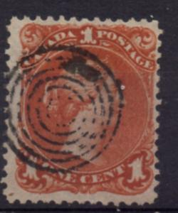 Canada Sc 22 1868 1c brn red large Queen Victoria stamp used