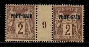 French Offices in Port Said Scott 2 Mint hinged Millesime Pair (CV 30 Euros)