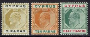 CYPRUS 1904  KEVII 5PA 10PA AND 1/2PI WMK MULTI CROWN CA