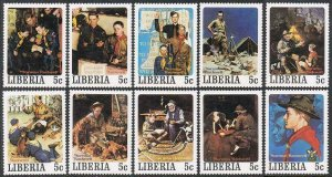 Liberia 853-857 a-j,MNH.Mi 1109-1158. Scouting 1979.Paintings by Norman Rockwell