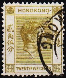 Hong Kong. 1938 25c S.G.150 Fine Used