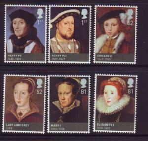 Great Britain Sc 2653-8 2009 Tudor Monarchs stamp set  mint NH