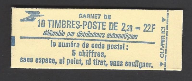 France 1983-7 10 2.20 FR Unexploded Booklet VF MNH (1884 Blue Cover)