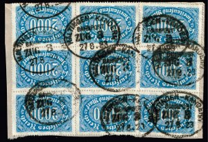 GERMANY STAMP 1922-23 New Values  2,000 MK USED BLK OF 9 STAMPS ON COVER PAPER