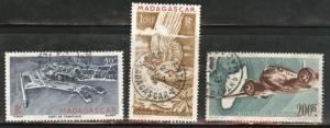 Madagascar Malagasy Scott C51-53 used  airmail set 1946