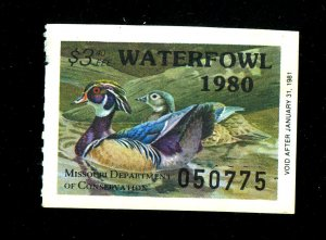 Missouri State Duck #2 MINT FVF Thin Cat$80