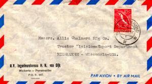 Suriname 15c Macaw 1957 Paramaribo Airmail to Milwaukee, Wis.  Small opening ...