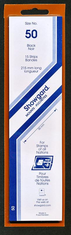 Showgard Stamp Mounts Size 50 mm / 215 mm Strip BLACK (Pack of 15)