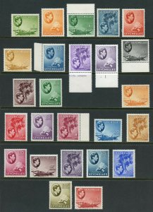 SEYCHELLES 1938/45 GEO VI SCOTT#125/45a 25 VALUES SG139/49 MINT HINGED