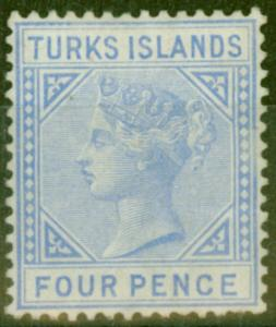 Turks & Caicos Is 1881 4d Ultramarine SG50 Good Mtd Mint