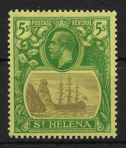 ST.HELENA SG110a 1927 5/= GREY & GREEN ON YELLOW BROKEN MAINMAST VAR MTD MINT
