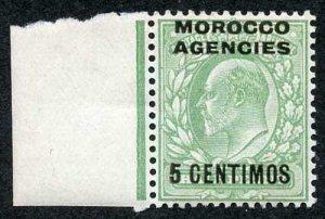 Morocco Agencies SG112a 1907 5c on 1/2d yellowish green U/M