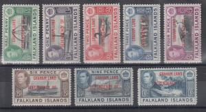 Falkland Islands Dependency, Graham Land, Sc 2L1-2L8 MLH. 1944 red ovpts cplt.