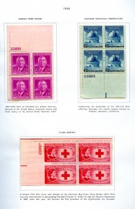 SCOTT # 965-966-967 PAGE OF PLATE BLOCKS W/DESCRIP GREAT FOR BEGINNERS  OG/MNH