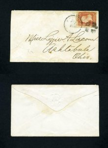 FREE SHIPPING - # 94 on cover to Ashtabula, Ohio from the 1860's
