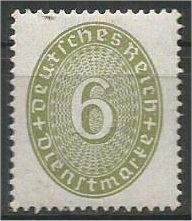 GERMANY, 1932, used 6pf, Numeral Scott O66