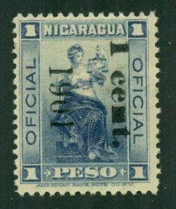 Nicaragua 1901 Official MNG Black Ovpt BIN = $1.50