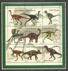 Guinea-Bissau MNH S/S Dinosaurs 2001 9 Stamps