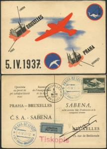 PRAGUE TO BRUSSELS FIRST FLIGHT ON POSTCARD MAY 1937 SIGNED BY PILOT BL1617