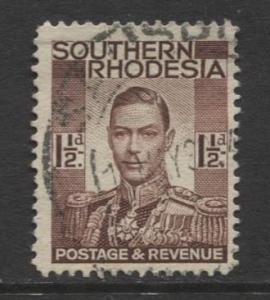 Southern Rhodesia- Scott 44 - KGVI - Definitive -1937 -FU- Single 1.1/2d Stamp
