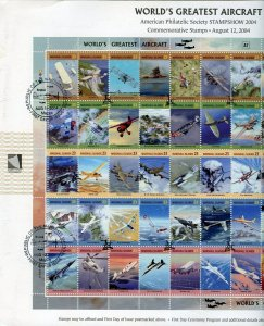 MARSHALL ISLANDS 2004 WORLD'S GREATEST AIRCRAFT  FIRST DAY CANCEL ON SHOW CARD