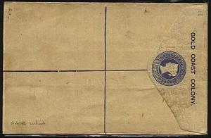 GOLD COAST QV GB 2d registered envelope optd GOLD COAST COLONY unused......19065