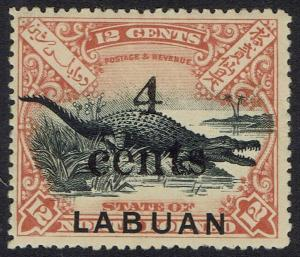 LABUAN 1904 SMALL 4 CENTS OVERPRINTED CROCODILE 12C