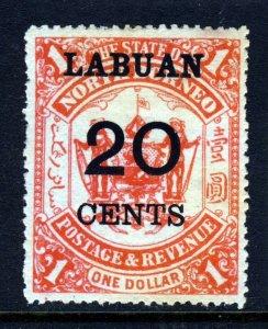 LABUAN 1895 LABUAN 20c. Surcharge  on $1 Scarlet North Borneo SG 77 MINT