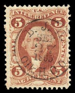 B377 U.S. Revenue Scott R23c 5c Agreement, 1865 handstamp cancel