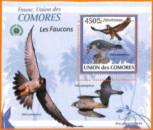 A5588 - COMOROS - ERROR, 2009, MISPERF SOUVENIR SHEET: Birds, Falcons
