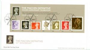 Great Britain 2017 FDC  Machin 50th Anniversary Souvenir Sheets (2)  Sc# MH468-9