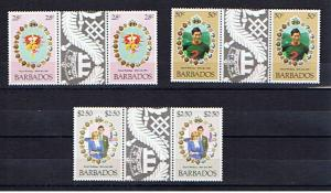 BARBADOS 1981 ROYAL WEDDING GUTTER PAIRS