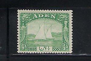 ADEN SCOTT #1 1937 DHOWS 1/2A (LIGHT GREEN) MINT HINGED