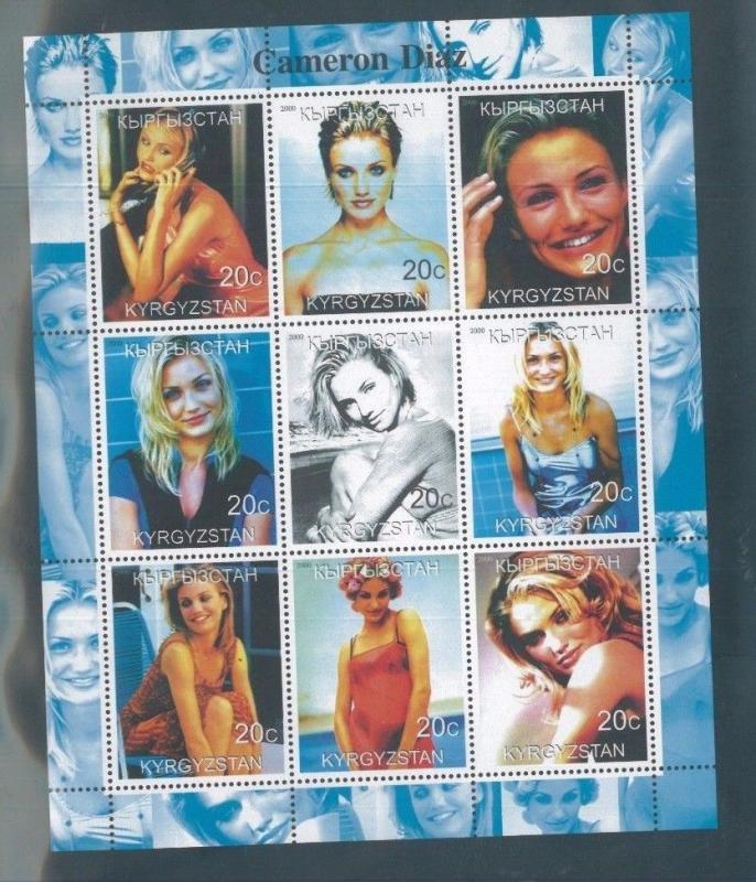 CAMERON DIAZ 2000 Souvenir Sheet VF, MNH Kyrgyzstan - E47