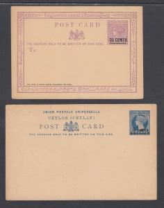Ceylon H&G 14, 21, mint. 1885 & 1888 Postal Cards, 2 different surcharges, F-VF