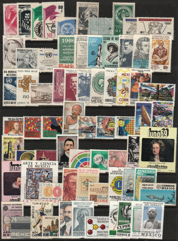 MEXICO 1966-1974 SELECTION OF 70 DIFFERENT COMMEMS & PICTORIALS. MNH F-VF.